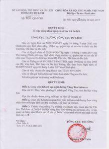 Giấy chứng nhận resort 4 sao của Vũng Tàu Intourco Resort